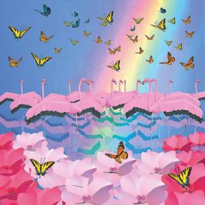 flamingos with dancing butterflies